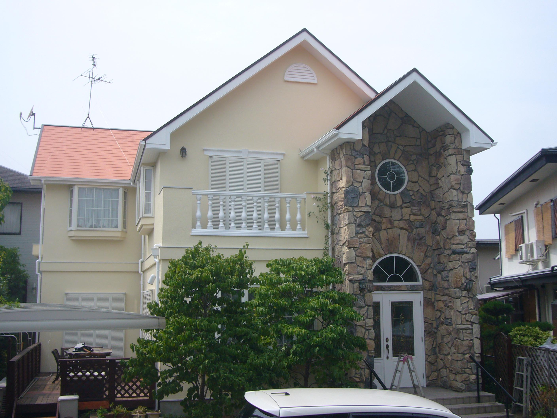 茨木市 外壁フッソ塗装・屋根ガイナ塗装