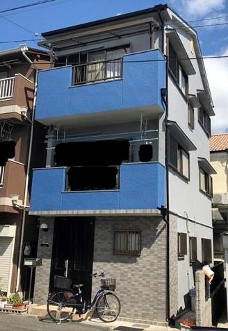 大阪市港区の3階建て住宅の外壁と屋根を塗装。特徴のあるお家になりました!